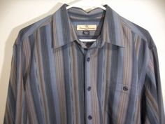 *Mint Tommy Bahama Mens 100% Silk striped casual dress Shirt size L #Tommybahama #FlatFront