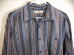 *Mint Tommy Bahama Mens 100% Silk striped casual dress Shirt size L #Tommybahama #FlatFront