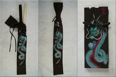Hand painted sword bag. Chockolate brown suede, great green&silver dragon.