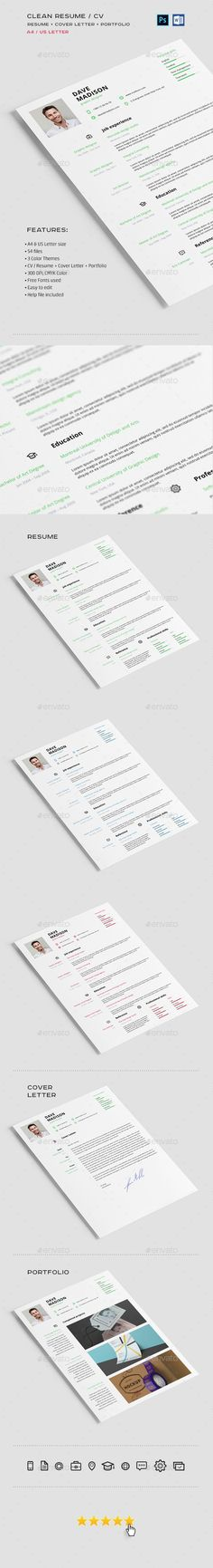 Buy Clean Resume / CV by Shumchuk on GraphicRiver. Features: Here is a simple and modern resume that you were looking for. It's easy to edit, also it has three color va. College Resume Template, Simple Resume Template, Resume Design Template, Creative Resume Templates, Cv Template, Modern Resume, Cover Letter For Resume, Resume Cv, Cv Design