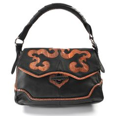 "Simply Nina! Black Leather and Embossed Snake Skin Handbag  (Retail Price $625.00) ""Our Price $179.00"" only at nomorerack.com"