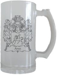 Araz Engraved Coat of Arms Glass Stein $29.90