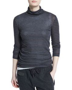B39LM Brunello Cucinelli Long-Sleeve Metallic-Striped Sweater, Charcoal