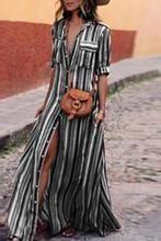 5c0ed1931657ca Fashion Stripes Half Sleeve Vacation Maxi Dresses. chicnora. Halve  MouwenMaxi Jurken