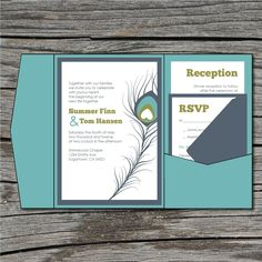 Wedding Invitation, DIY, Pocketfold, Peacock Feather, Printable, Digital File by ticklemeink on Etsy