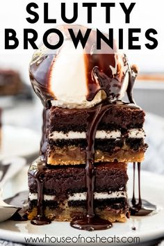Slutty Brownies are an over-the-top triple decker mashup of chocolate chip cookie dough, double stuff Oreos, and fudgy brownies all in one dessert! This is one dessert that is hard to resist, and you might feel guilty about it afterwards, but you can't help wanting more. #brownies #oreos #chocolatechipcookies #bars #best #homemade #fromscratch #easy #dessert Slutty Brownies Recipe Easy, Brownie Recipe Video, Fudgy Brownies, Brownie Recipes, Cake Recipes, Oreo Bars, Chocolate Chip Cookie Bars, Chocolate Desserts, Easy Desserts