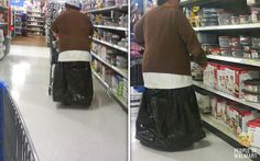 Funny Pictures Of People At Walmart | He is wearing… a trash bag… as a skirt. I can't even fathom a ... http://ibeebz.com