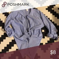 Blue Pinstripe Blouse Cotton-soft and cute in so many ways: tied, open, buttoned up, over dresses etc. H&M Tops Blouses