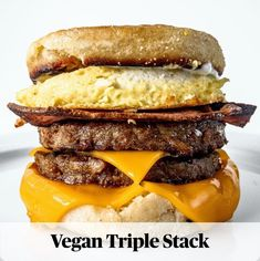 Vegan Triple Stack is a copycat veganized version of McDonald& Triple Breakfast Stack. Want a protein packed breakfast made solely from plants? Vegan Foods, Vegan Dishes, Vegan Vegetarian, Vegetarian Recipes, Vegan Meals, Breakfast Burger, Protein Packed Breakfast, Vegan Breakfast Recipes, Gluten