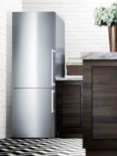 Summit FFBF286SSLHD 28 Inch Bottom Freezer Refrigerator with 16.8 cu. ft. Capacity, Adjustable Glass Shelves, Wine Rack, Adjustable Door Bins, Produce Drawer, 3 Freezer Drawers, Digital Thermostat, ADA Compliant and ENERGY STAR Certified: Left Hinge Door Swing, No Ice Maker