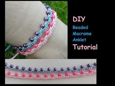 How to Make a Beaded Macrame Anklet [Ankle Bracelet] Tutorial Macrame Bracelet Diy, Macrame Bracelet Patterns, Macrame Jewelry, Beaded Bracelets, Macrame Knots, Chevron Friendship Bracelets, Jewelry Knots, Micro Macramé, Beaded Anklets
