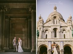Photographs of a couple eloping in Paris at Sacre Coeur church in Montmartre by Paris wedding photographer Stacy Reeves