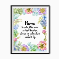 Plakat na Dzień Mamy - Mama Happy Mother's Day Gif, Mothers Day Gif, Origami, Diy And Crafts, Homemade, Frame, Cards, Gifts, Motto