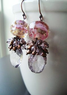 Pretty Earrings! » Lampwork Bead Earrings Wire Wrapped, Pink Gemstone and Pearl Cluster by rhondajewelry on @Etsy