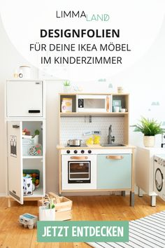 Gestalte dein IKEA Kinderzimmer neu With foils and Scandinavian designs that enhance your IKEA furniture and bring lots of fun for children. Discover what you can do with a KALLAX or BILLY shelf, the IKEA children& kitchen or a LACK table! Ikea Childrens Kitchen, Ikea Play Kitchen, Kitchen For Kids, Ikea Furniture, Cool Furniture, Ikea Nursery, Apartment Kitchen, Ikea Hacks, Kitchen Accessories