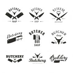 Big set of butchery logo templates. butchery labels with sample text Wine Logo, Meat Shop, Logo Samples, Teppanyaki, Chicken And Shrimp Recipes, Butcher Shop, Shop Front Design, Shop Plans, Shop Logo