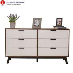 Mainstays Mid Century Modern Two-Tone Bedroom 6 Drawer Dresser Furniture Brown