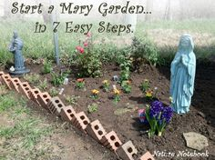 How to Start a Mary Garden in 7 Easy Steps Tips and resources to help you create your own Mary Garden at home or at your parish, complete with ideas for plants and symbols to include. Catholic Crafts, Catholic Kids, Organic Gardening, Gardening Tips, Kitchen Gardening, Gardening Vegetables, Marian Garden, Prayer Garden, Blessed Mother Mary