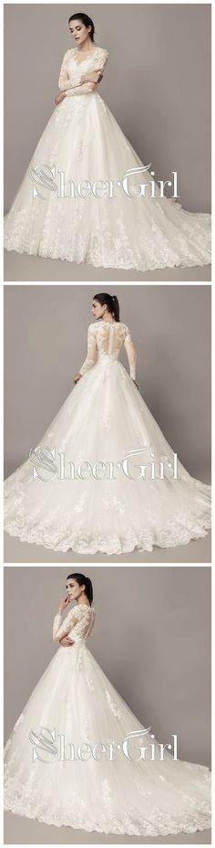 Long Sleeve Lace Wedding Dresses See Through Cheap Modest Wedding Dresses Online AWD1019 #weddingdress #weddings #weddinginspiration #laceweddingdresses #beachwedding #vintagewedding #longsleeveweddingdress