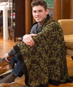 Man Cave Throw Free Crochet Pattern in Red Heart Yarns   New, New ...