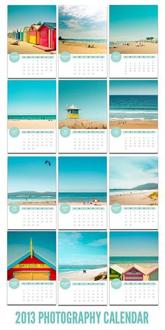Photography calendar 2013  4x6 beach calendar by mylittlepixels