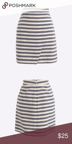 07c994cf46c J. Crew Blue and Cream Striped Mini Skirt 00 Cotton. Fitted at waist. Sits  at waist. 17
