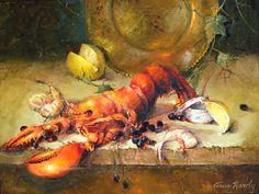 Lobster par Ann Hardy Oil ~ 18 x 24Homard Huile sur toile de lin belge à bord 18 x 24 x 2 2,600.00 $ USD Vendu