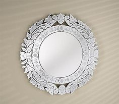 Afina Radiance Round Traditional Cut Glass & Etched Mirror - :: Bath Mirror from Home & Stone Wall Mirror Online, Round Wall Mirror, Wall Mounted Mirror, Mirror Mirror, Fashion Kids, Etched Mirror, Etched Glass, Through The Looking Glass, Cut Glass