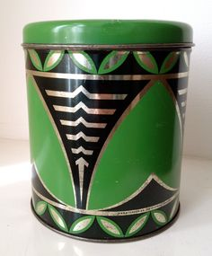 Gorgeous. Gorgeous. Gorgeous. - Vintage Art Deco Kitchen Canister Tin in Green, Black and Gold