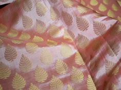 Brocade Fabric sold by the yard, Pink Benarasi brocade with gold leaf, Blended silk fabric, Indian Silk Fabric, wedding Benarasi fabric