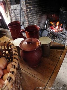Old Sturbridge Village in the Fall Fireplace Hearth, Fireplaces, Early American Decorating, Fort Western, Sturbridge Village, Old Baskets, Colonial America, Cozy Living, Earthenware