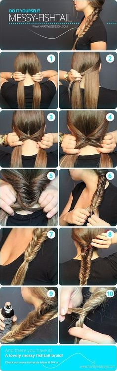 Messy Fishtail Braid Tutorial: Side Loose Braided Hairstyles - Great step by step instructions with photos!: Messy Fishtail Braid Tutorial: Side Loose Braided Hairstyles - Great step by step instructions with photos! Messy Fishtail Braids, Quick Braids, Hair Braiding Tutorial, How To Braid Hair, How To Make Braids, Fishtail Braid Styles, Waterfall Braid Tutorial, Braids Tutorial Easy, Braid Hairstyles