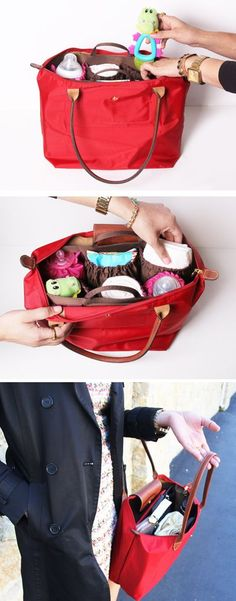 Our fav organizer, ToteSavvy, paired with a Longchamp Le Pliage Large Tote. The perfect diaper bag!