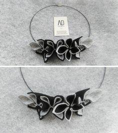 Collana linea AD Handmade in panno nero e grigio melange, creata con prodotti 100% made in Italy. #adhandmade #madeinitaly #collana
