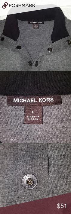 Michael Kors men's long sleeve shirt Handsome grey long sleeve shirt by Michael Kors. Size large. Snap front closure. Fabric is upscale sweatshirt type. Great with a pair of casual trousers or jeans for date night! Michael Kors Shirts Tees - Long Sleeve