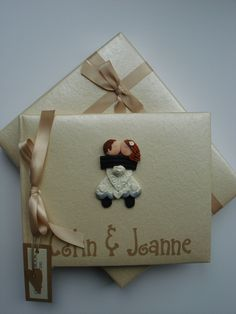 Cream and Toffee Fimo Wedding Guest Book £35.00 www.beadazzledesigns.co.uk