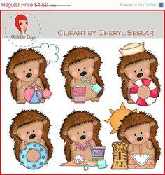 5 DAY SALE Pepper the Hedgehog Loves the Beach Clipart by Cheryl Seslar