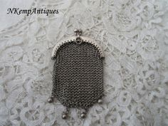 Antique chatelaine purse real silver 1900 nice by Nkempantiques