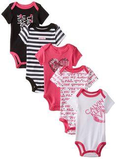 89ff40f9f Calvin Klein Baby-Girls Newborn 5 Pack Creeper Set- Pink Black White Group,  Multi, 6-9 Months