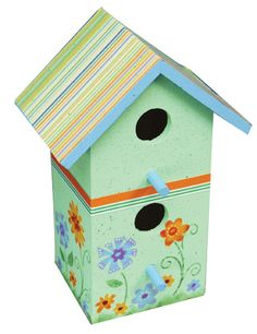 Painted Birdhouse     This pretty birdhouse features floral image templates. You can use patterned papers to cover the roof and coordinate with your painted design.