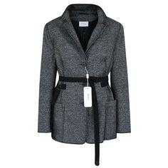 AKRIS PUNTO $1490 gray wool silk belted jacket leather collar blazer coat 12 NEW #AkrisPunto #Belted #Coat #Blazer