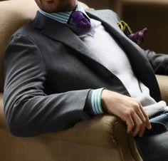 Grey Suit / Vest & Purple Tie.
