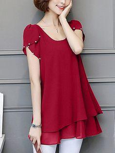 Round Neck Beading Plain Petal Sleeve Blouse - Look Shop Cheap Blouses, Blouses For Women, Moda China, Cheap Womens Tops, Petal Sleeve, Modelos Plus Size, Bell Sleeve Blouse, Blouse Dress, Trendy Tops