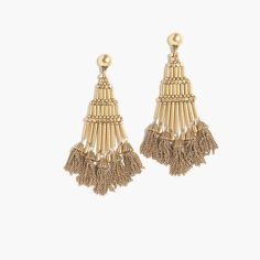J.Crew Gift Guide: women's antique gold chandelier earrings with tassels.