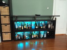 Unique Liquor Cabinet Ikea For Home Bar Room Furniture Ideas: Charming Black Floating Liquor Cabinet Ikea Made Of Wood With Led On Wooden Floor Matched With Green Wall For Home Bar Room Decor Ideas Ikea Bar, Mini Bars, Liquor Cabinet Ikea, Room Interior, Interior Design Living Room, Interior Livingroom, Kitchen Interior, Etagere Kallax Ikea, Ikea Expedit
