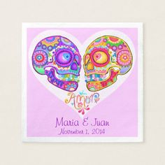 Shop Sugar Skulls Couple Paper Napkins for Wedding created by thaneeyamcardle. Cloth Napkins, Paper Napkins, Sugar Skull Design, Love Days, Wedding Napkins, Shopping Day, Sugar Skulls, Day Of The Dead, Office Gifts
