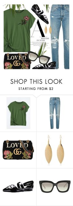 """Greens"" by monmondefou ❤ liked on Polyvore featuring Levi's, Gucci, Michael Kors, floral, GREEN and flats"