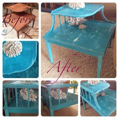 Thift store end table I found for $25.  I painted it with serval coats of different color blues on top of white primer and sanded it to look beach shabby chic. One of my favorites for sure.  Www.etsy.com/shop/UniqueCastaways  Www.facebook.com/UniqueCastaways