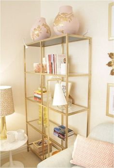 ikea vittsjo shelving painted gold; this links to a blog post with lots of other vittsjo redos.