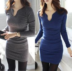 9ebc814e90 euro 9 incl shipping Autumn and winter new 2014 sexy slim all match V neck  long sleeve bodycon mini pencil dresses from Apparel   Accessories on .